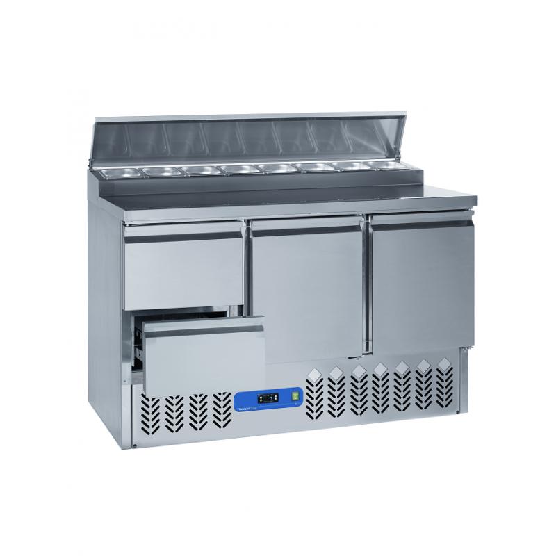 Saladette frigorifique 2 portes et 2 tiroirs inox