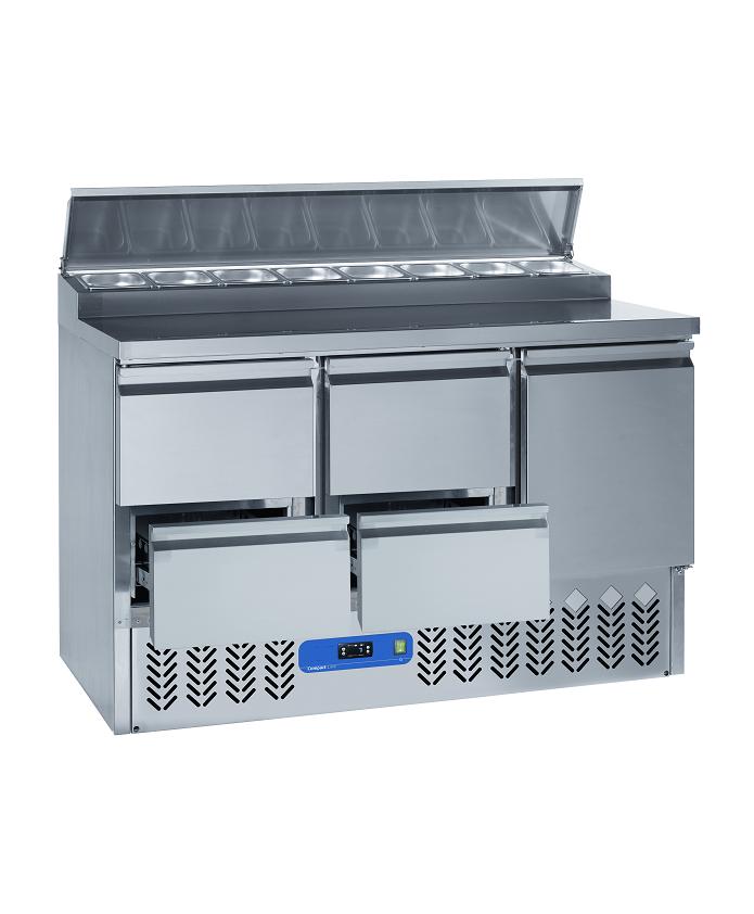 Saladette frigorifique 1 portes et 4 tiroirs inox