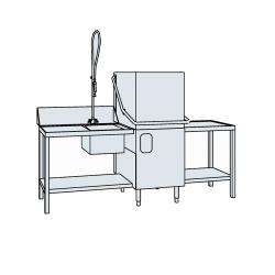 Lave-vaisselle à capot avec plonge et table