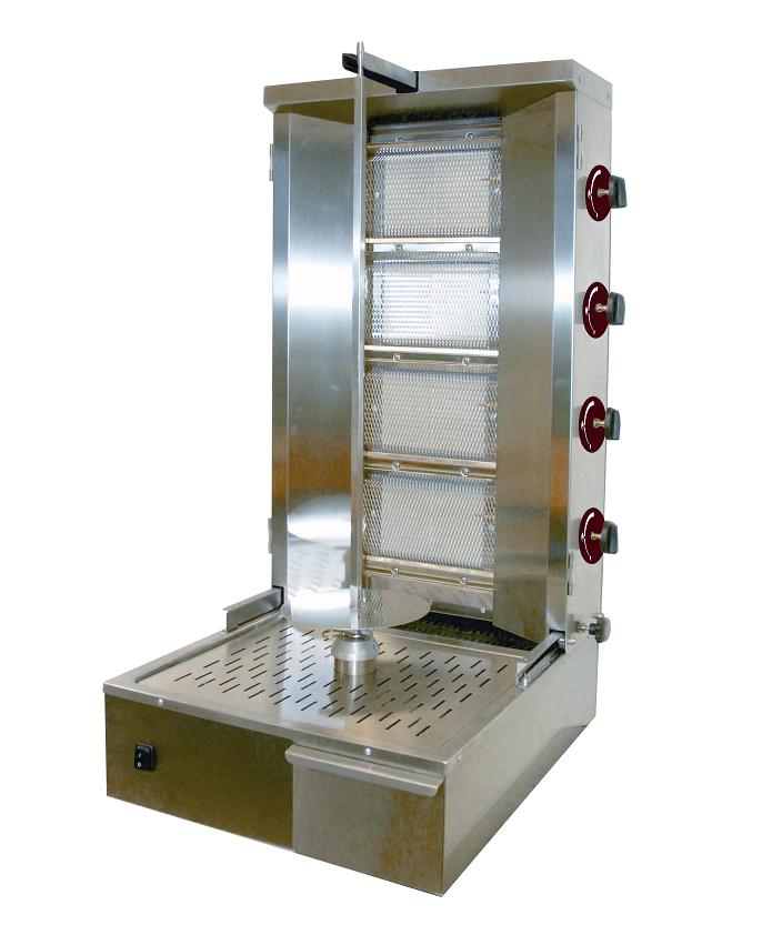 Machine à kebab gaz professionnelle 4 feux