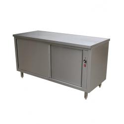 Table inox sur armoire chauffante traversante