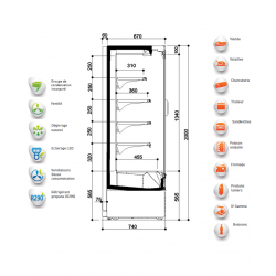 Vitrine frigorifiques portes Offlip BONNET NEVE schéma