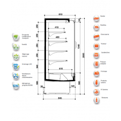 Vitrine frigorifique Onwave Bonnet Neve schéma