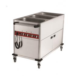 Chariot bain-marie 3 GN1/1 sur armoire chauffante