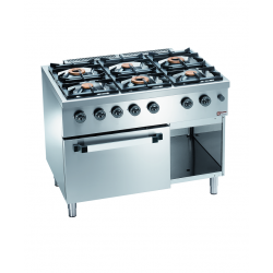 Piano de cuisson professionnel 6 feux sur armoire inox