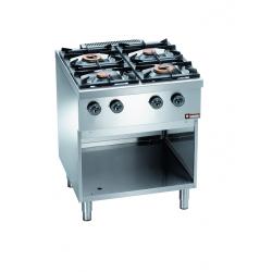 Piano de cuisson pro 4 feux sur armoire inox