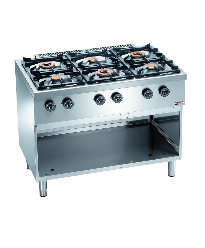 Piano de cuisson pro 6 feux sur armoire inox