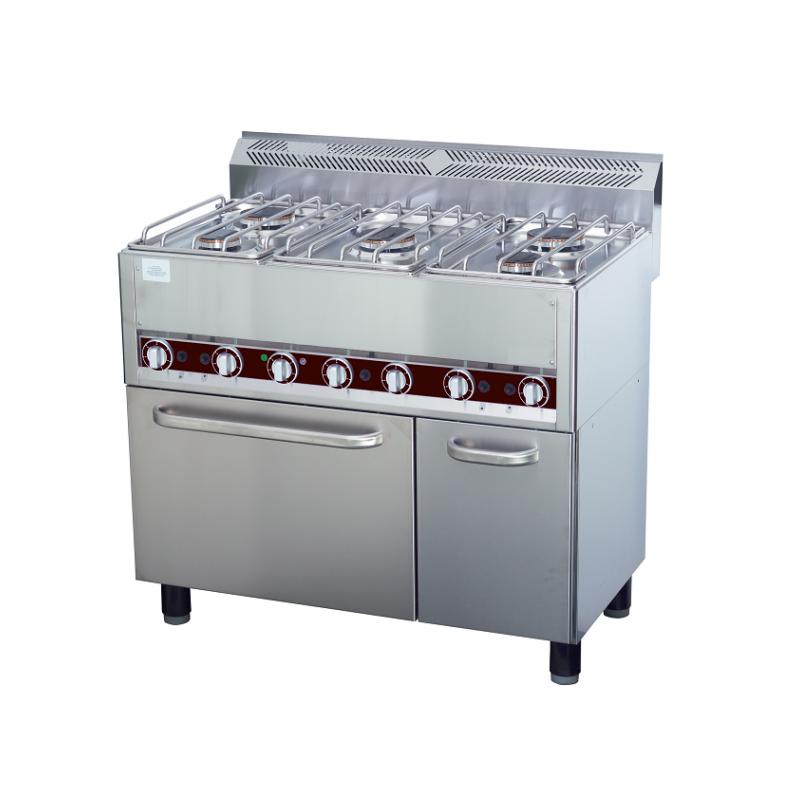 Piano de cuisson pro 5 feux gaz sur four