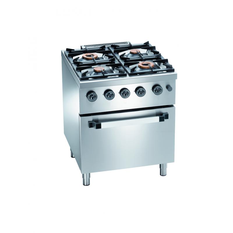 Cuisinière professionnelle 4 feux gaz et four électrique
