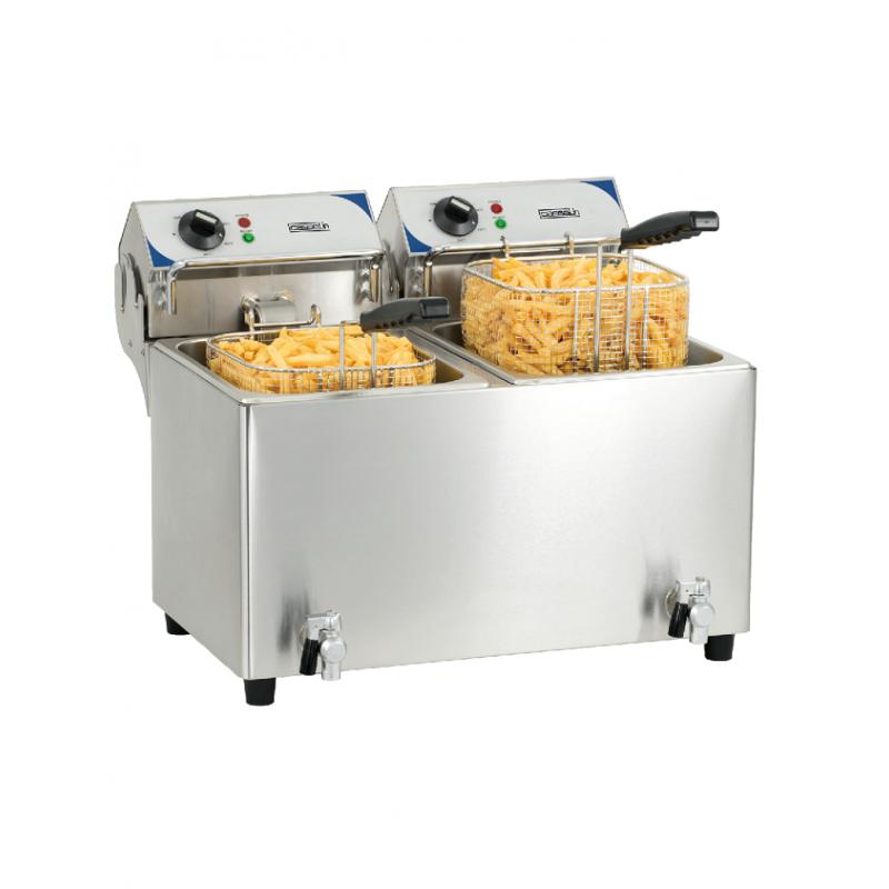 Casselin CFEV82 | Friteuse électrique double bac de 8 litres