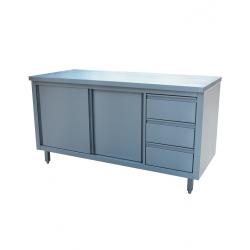Table inox avec tiroirs et portes