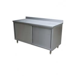 Table inox pro avec porte coulissante