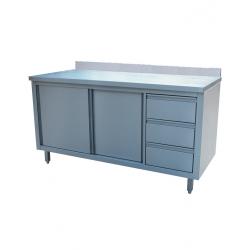 Table inox adossée avec portes et tirroires