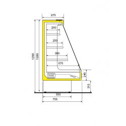 Vitrine frigorifique semi verticale ventilée coupe