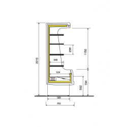 Comptoir froid de présentation verticale libre service