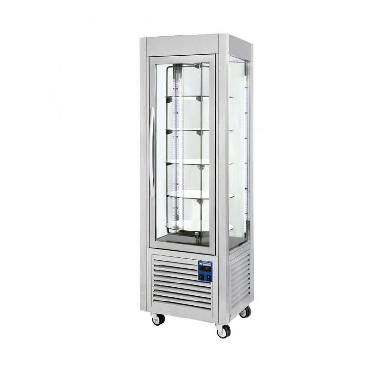Comptoir réfrigéré 4 faces vitrées plateaux tournants
