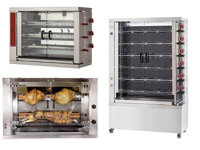 Rôtissoire à poulets gaz professionnelle à balancelles ou broches de boucherie
