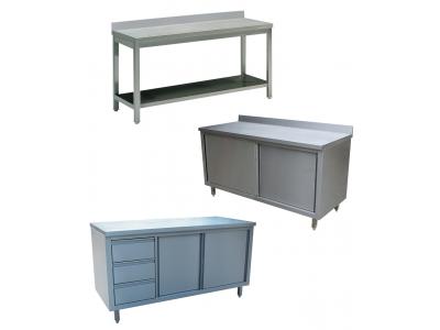 Table inox professionnelle adossée ou centrale et rangement inox