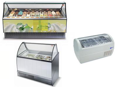 Comptoir réfrigéré pour glacier et présentoirs crème glacée