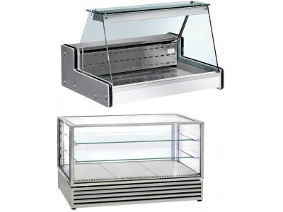 Vitrine réfrigérée à poser et vitrine chaude de comptoir