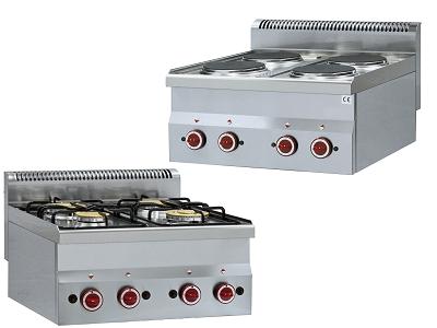 Piano de cuisson professionnel gaz et electrique pour restaurant