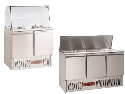 Saladette réfrigérée professionnelle inox  avec portes et tiroirs