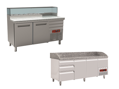 Table pizza réfrigérée avec marbre, portes et tiroirs
